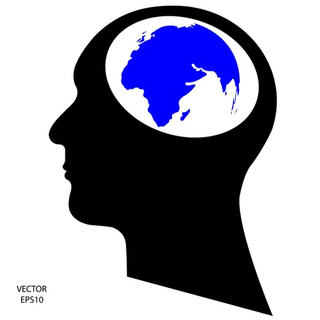 Silhouette of a head on white background,the concept of business icon,business symbol,vector Stock Vector - 18092568
