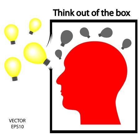 out think: pensar fuera de icono de la caja, piense fuera de la caja, la silueta de una cabeza, icono empresarial, s�mbolo de negocio
