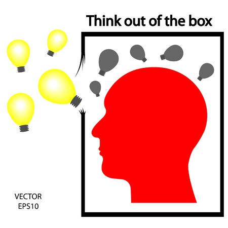 outside box: think out of box icon, think outside box,silhouette of a head ,business icon,business symbol Illustration