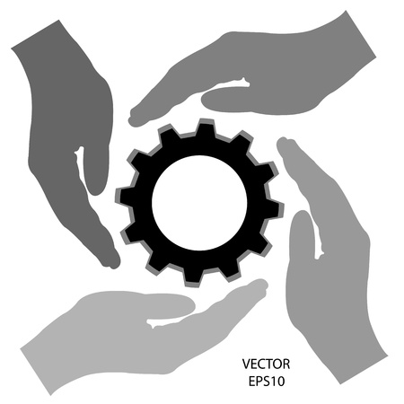meshing gear on white background,industri al driving,vector