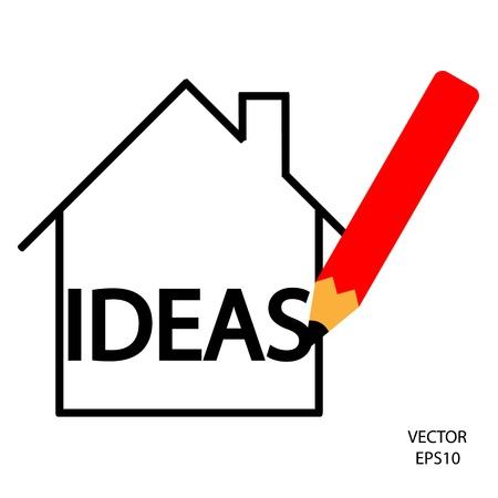 home icon,color pencil icon, business symbol,concept of creation,drawing by color pencil,vector Stock Vector - 18138943