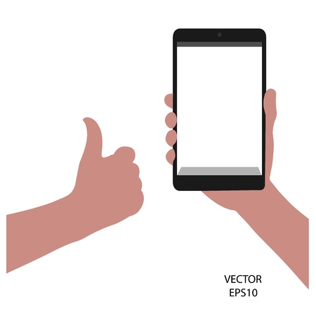 tablet on hand outline,smart phone on hand outline, tablet drawing,smart phone drawing,tablet symbol,smart phone symbol, vector Stock Vector - 18139018