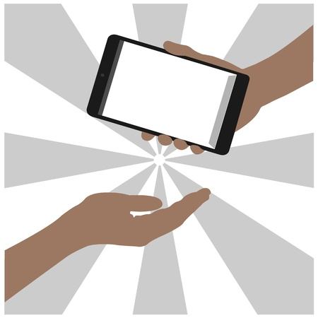 tablet on hand outline,smart phone on hand outline, tablet drawing,smart phone drawing,tablet symbol,smart phone symbol, vector Stock Vector - 18139067