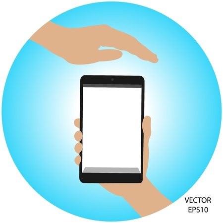 tablet on hand outline,smart phone on hand outline, tablet drawing,smart phone drawing,tablet symbol,smart phone symbol, vector Stock Vector - 18139110