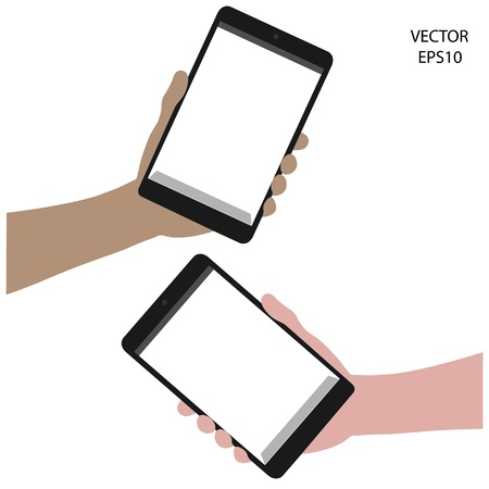 tablet on hand outline,smart phone on hand outline, tablet drawing,smart phone drawing,tablet symbol,smart phone symbol, vector Stock Vector - 18139076