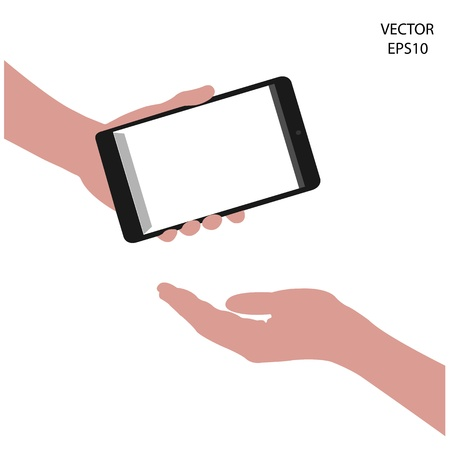 tablet on hand outline,smart phone on hand outline, tablet drawing,smart phone drawing,tablet symbol,smart phone symbol, vector Stock Vector - 18139052