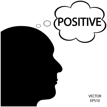 negative thinking: Silhouette of a head ,business icon,business symbol