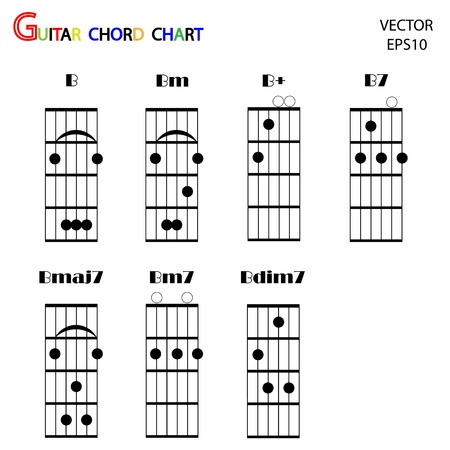 Basic guitar chords ,tab guitar chords,vector Stock Vector - 18165380