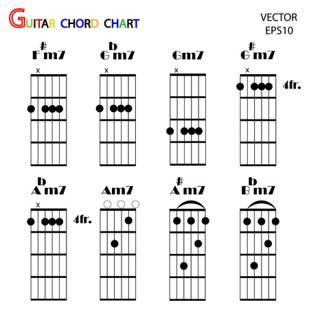 Basic guitar chords ,tab guitar chords,vector Stock Vector - 18194744