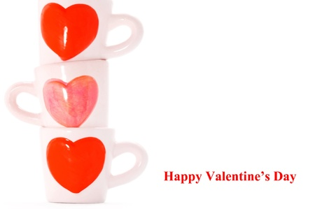 group of cups on bright background , cups of lover  photo