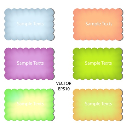 set of color paper notes,paper box,text box Illustration