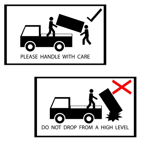warning sign on the box, please handle with care,do not drop from high level,vector Vector