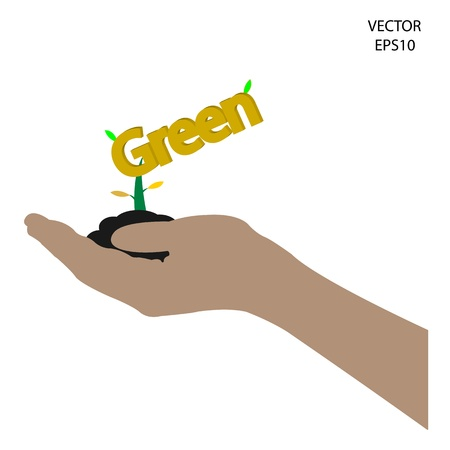 small tree on hand,business tree on hand,industrial symbol,abstract symbol,green environment sign, green industry ,texts box  Vector