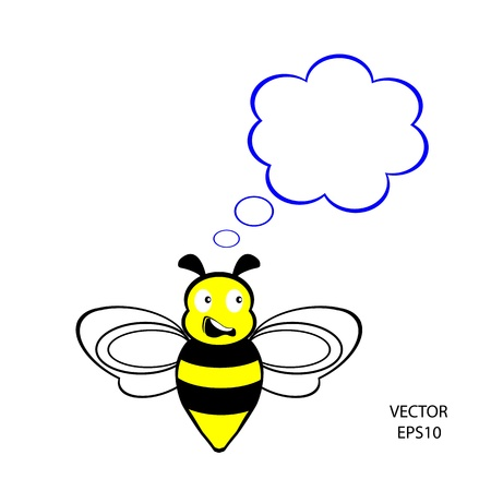 feeling on small face of baby bee , bee icon,bee drawing,bee outline  Stock Vector - 18356324