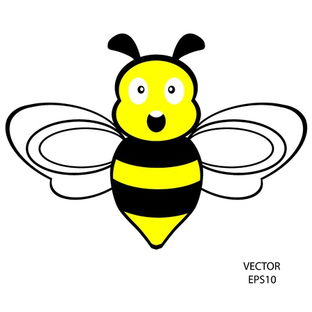 feeling on small face of baby bee , bee icon,bee drawing,bee outline,vector Stock Vector - 18379456