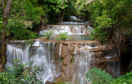 The Huai Mae Khamin Waterfall, Kanchanaburi, Thailand photo