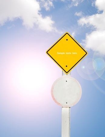blank traffic board on sky background,abstract sign,business symbol Stock Photo - 18405199