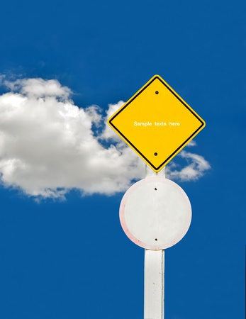 blank traffic board on sky background,abstract sign,business symbol Stock Photo - 18413545