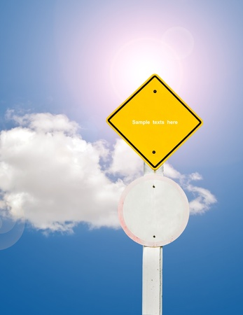 blank traffic board on sky background,abstract sign,business symbol Stock Photo - 18413539
