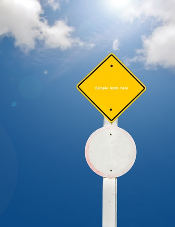 blank traffic board on sky background,abstract sign,business symbol Stock Photo - 18413552