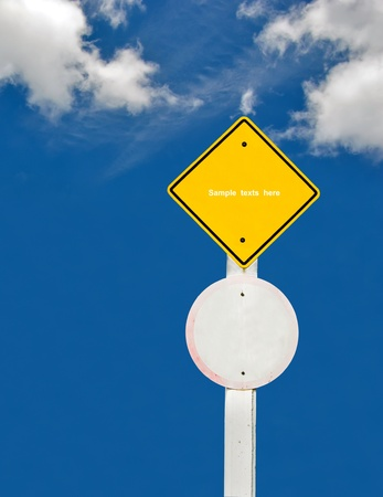 blank traffic board on sky background,abstract sign,business symbol Stock Photo - 18413547