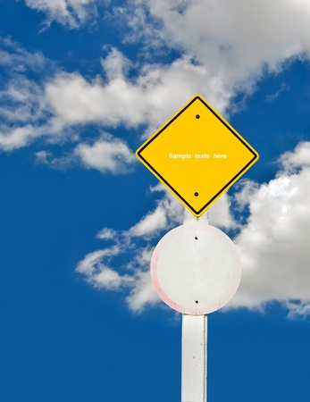 blank traffic board on sky background,abstract sign,business symbol Stock Photo - 18413553