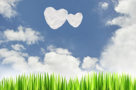 green grass with heart cloud  on blue sky background photo