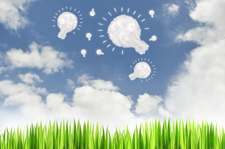 green grass with lamp cloud  on blue sky background,text box,idea box  photo