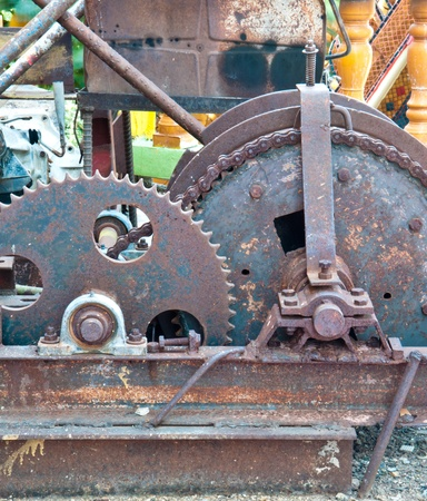 Cog and wheel details from machines ,the old  machine gear, metal cogwheel   photo