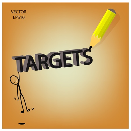targets word sketching by color pencil Stock Vector - 19124079