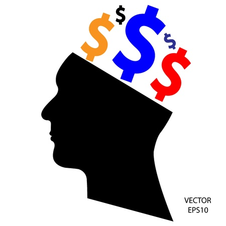 Silhouette of a head ,business icon,business symbol Stock Vector - 19124015