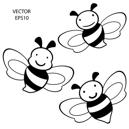 set of feeling on small face of baby bee , bee icon,bee drawing,bee outline,vector