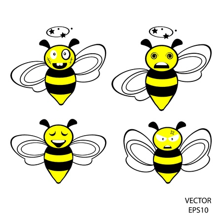 set of feeling on small face of baby bee , bee icon,bee drawing,bee outline,vector Vector