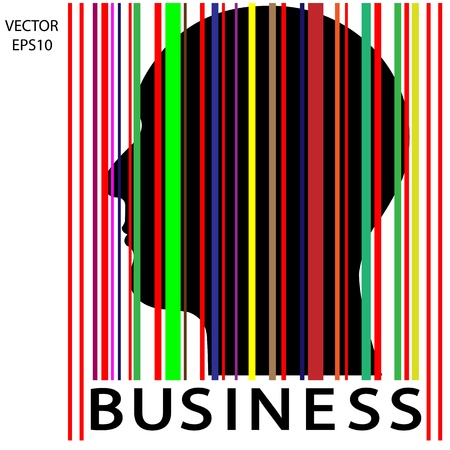Silhouette of a head with bar code , the concept of business icon,business symbol,business man,vector Stock Vector - 19145690
