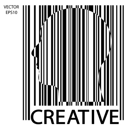 black man thinking: Silhouette of a head with bar code , the concept of business icon,business symbol,business man,vector
