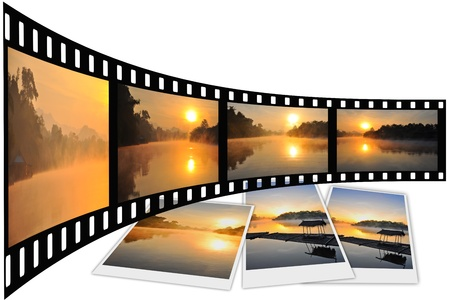 photo strip: Natural photo with film strip isolated on white background