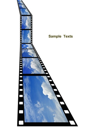 blue sky background on film strip isolated,natural background photo
