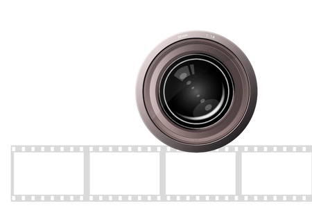 Camera lens on white background with film strip photo