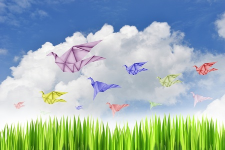 Paper birds on blue sky background ,paper birds on background,freedom symbol photo