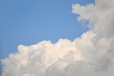 white cloud with blue sky background, blank on blue sky for sample texts , texts box, idea box  photo