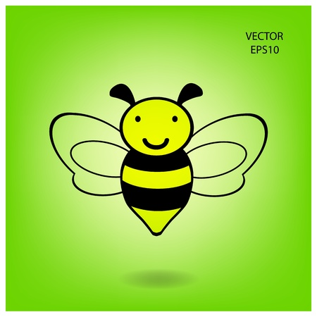 flying bee on background , bee icon,vector Vector