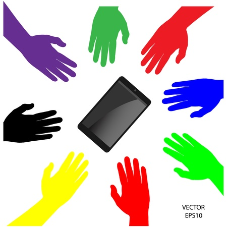 business it: hand and smart phones icon,business concept,IT concept, vector EPS10