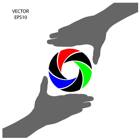hand silhouette with digital camera sign, vector Vector