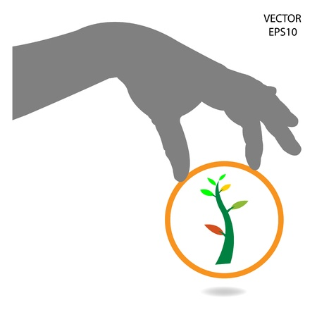 Hand and green plant,think green concept , save the green world,vector Vector
