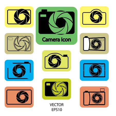 set of digital camera icons, vector Vector