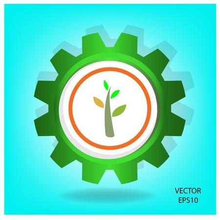 green industrial symbol,green thinking,vector Vector