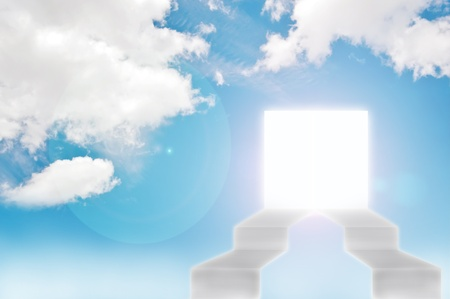 imagination door on blue sky background , business concept photo