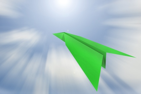 paper plane with sky background ,business concept photo