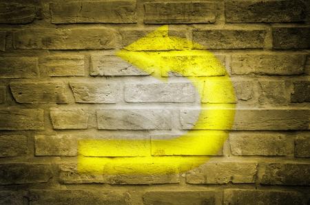 traffic sign on grunge floor, old background photo