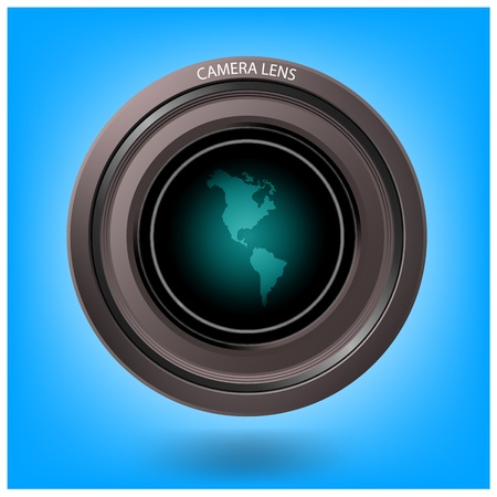 world map with camera lens on background,vector Vector